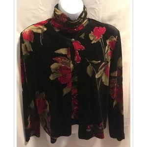Size 8P 8 Petite Jacket &  Top Set Velvet Sparkle